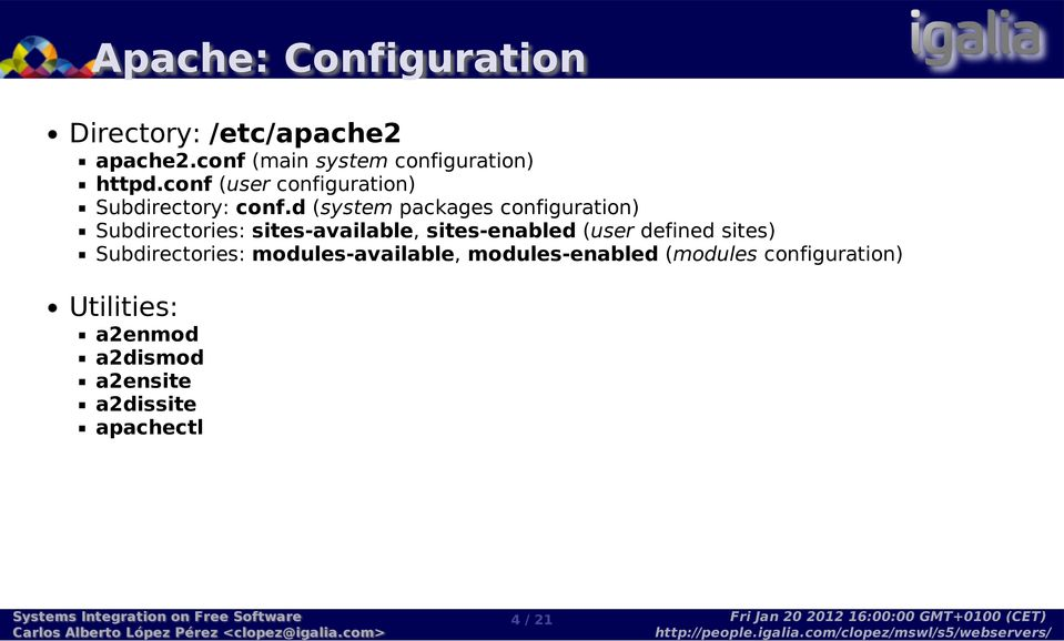 d (system packages configuration) Subdirectories: sites-available, sites-enabled (user defined