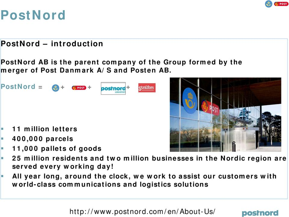 PostNord = + + + 11 million letters 400,000 parcels 11,000 pallets of goods 25 million residents and two million