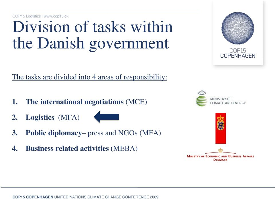 areas of responsibility: 1. The international negotiations (MCE) 2.