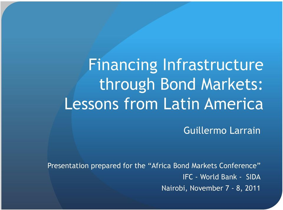 Presentation prepared for the Africa Bond Markets