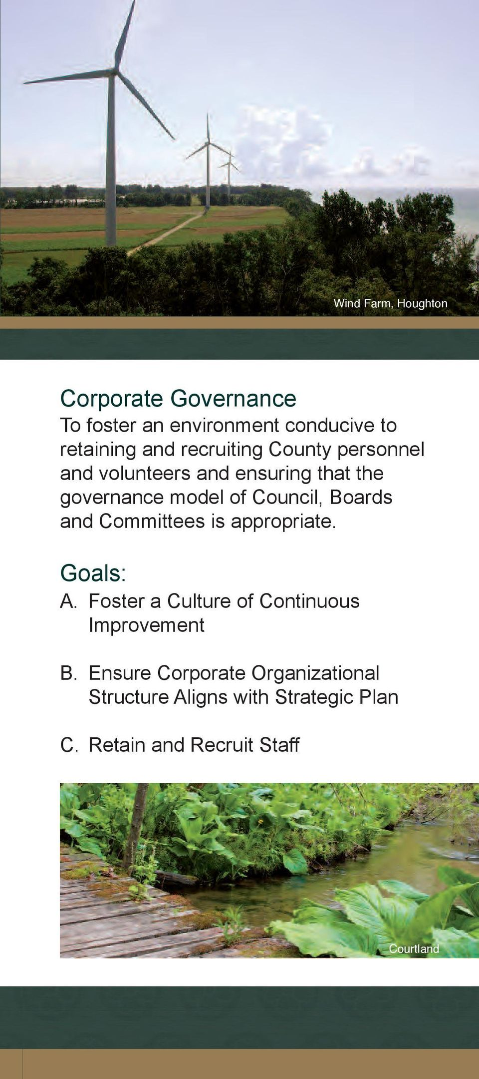 Boards and Committees is appropriate. Goals: A. Foster a Culture of Continuous Improvement B.