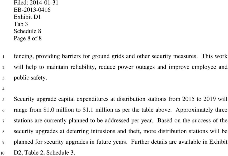 Security upgrade capital expenditures at distribution stations from 0 to 0 will range from $.0 million to $. million as per the table above.