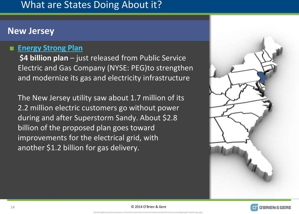 strengthen and modernize its gas and electricity infrastructure The New Jersey utility saw about 1.7 million of its 2.