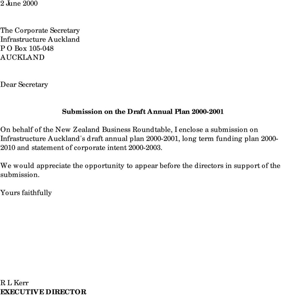 draft annual plan 2000-2001, long term funding plan 2000-2010 and statement of corporate intent 2000-2003.