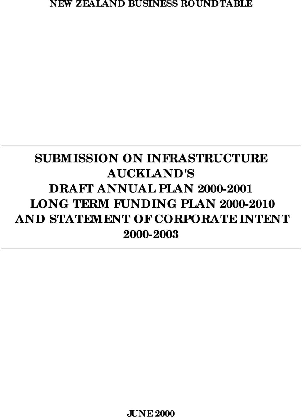 2000-2001 LONG TERM FUNDING PLAN 2000-2010 AND