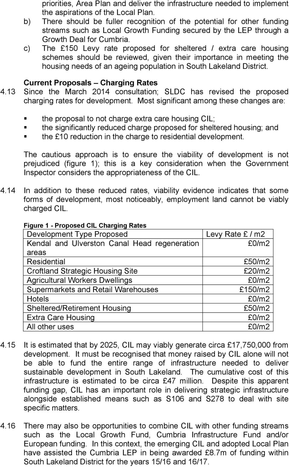 c) The 150 Levy rate proposed for sheltered / extra care housing schemes should be reviewed, given their importance in meeting the housing needs of an ageing population in South Lakeland District.