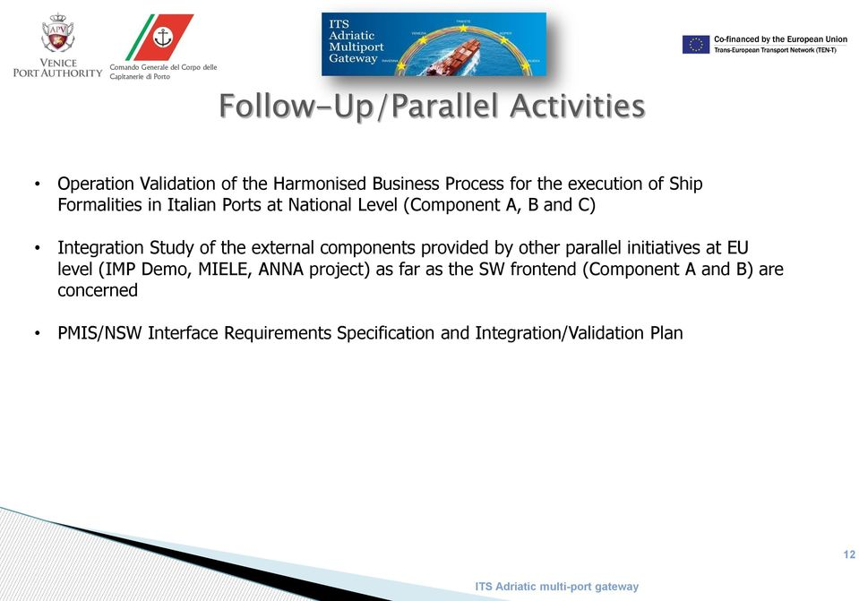 components provided by other parallel initiatives at EU level (IMP Demo, MIELE, ANNA project) as far as the SW