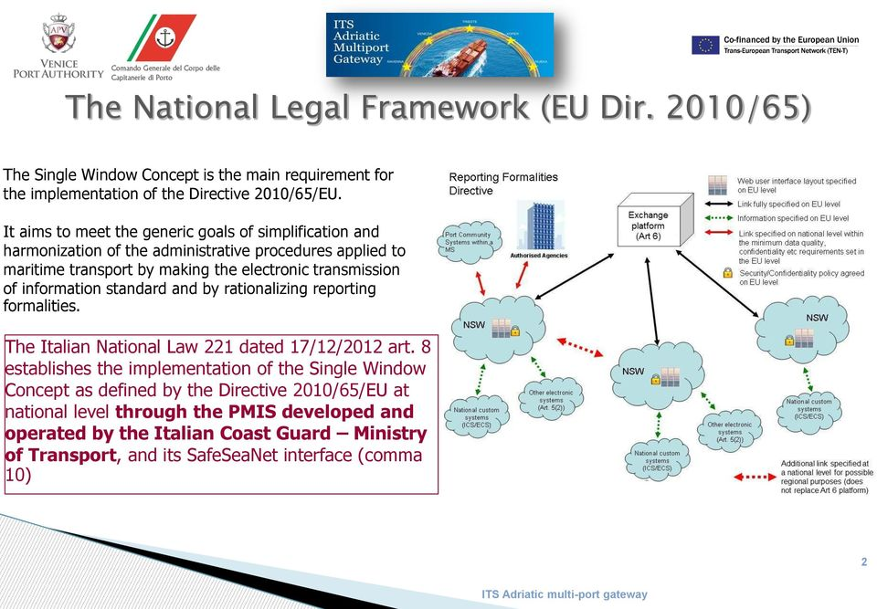 of information standard and by rationalizing reporting formalities. The Italian National Law 221 dated 17/12/2012 art.