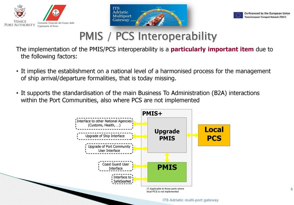 It supports the standardisation of the main Business To Administration (B2A) interactions within the Port Communities, also where PCS are not implemented Interface to other National