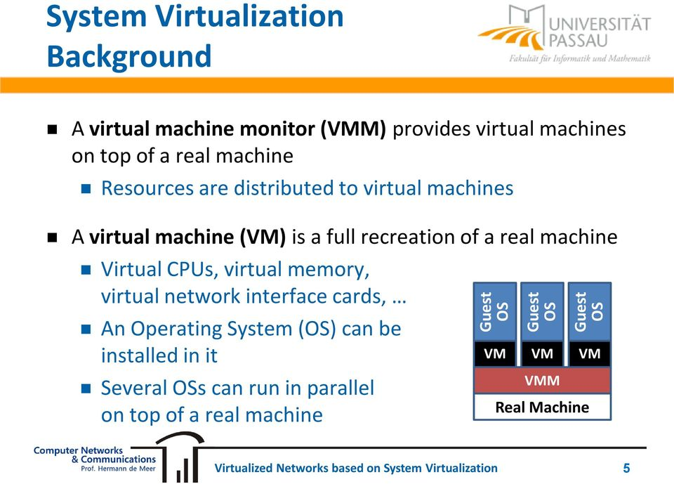 recreation of a real machine Virtual CPUs, virtual memory, virtual network interface cards, An