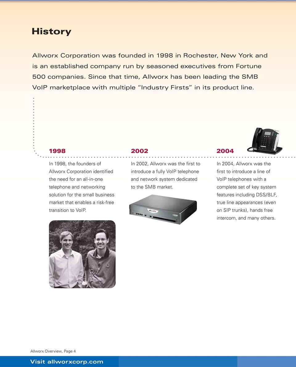 1998 2002 2004 In 1998, the founders of Allworx Corporation identified the need for an all-in-one telephone and networking solution for the small business market that enables a risk-free transition