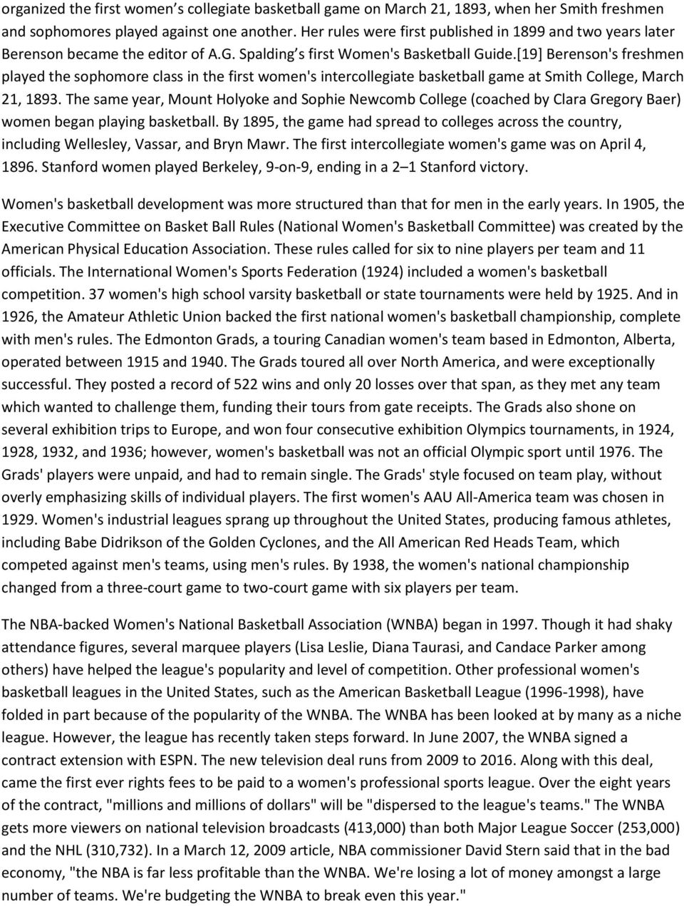[19] Berenson's freshmen played the sophomore class in the first women's intercollegiate basketball game at Smith College, March 21, 1893.
