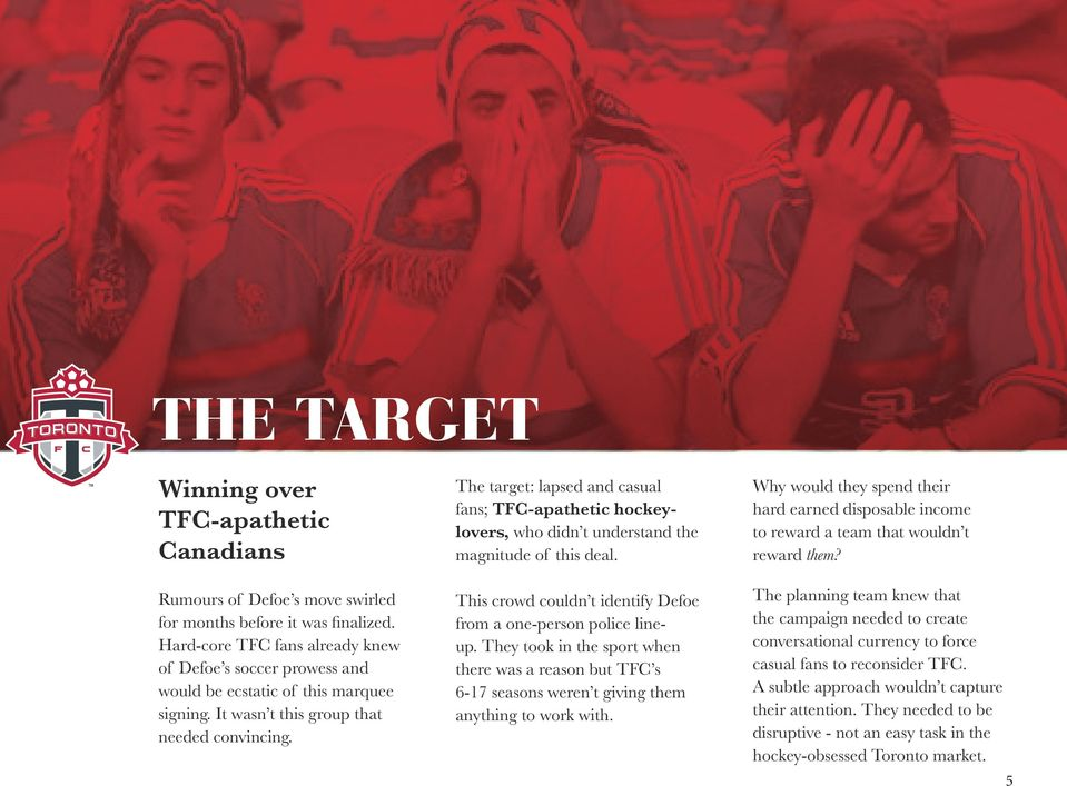 The target: lapsed and casual fans; TFC-apathetic hockeylovers, who didn t understand the magnitude of this deal. This crowd couldn t identify Defoe from a one-person police lineup.