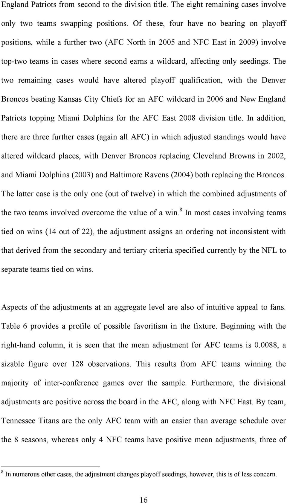 The two remaiig cases would have altered playoff qualificatio, with the Dever Brocos beatig Kasas City Chiefs for a AFC wildcard i 2006 ad New Eglad Patriots toppig Miami Dolphis for the AFC East