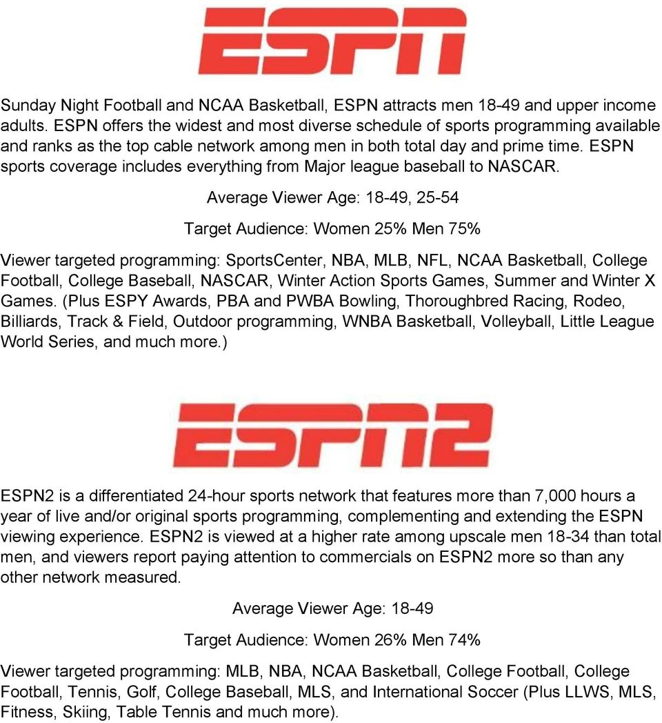 ESPN sports coverage includes everything from Major league baseball to NASCAR.