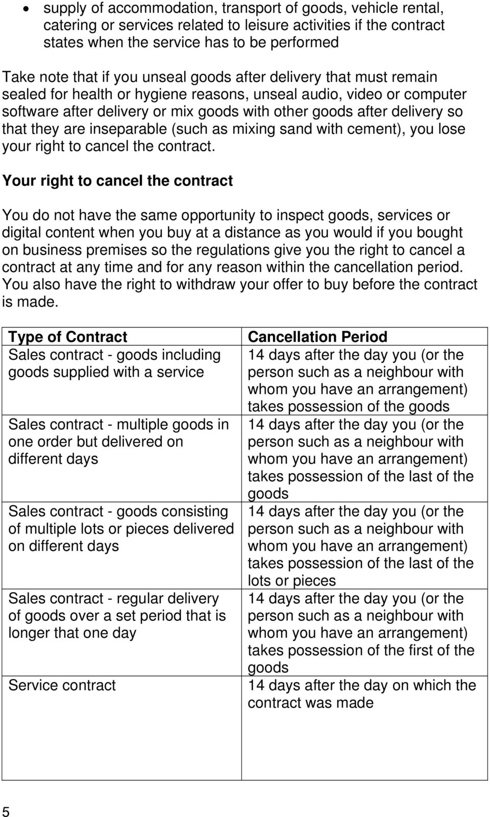 are inseparable (such as mixing sand with cement), you lose your right to cancel the contract.