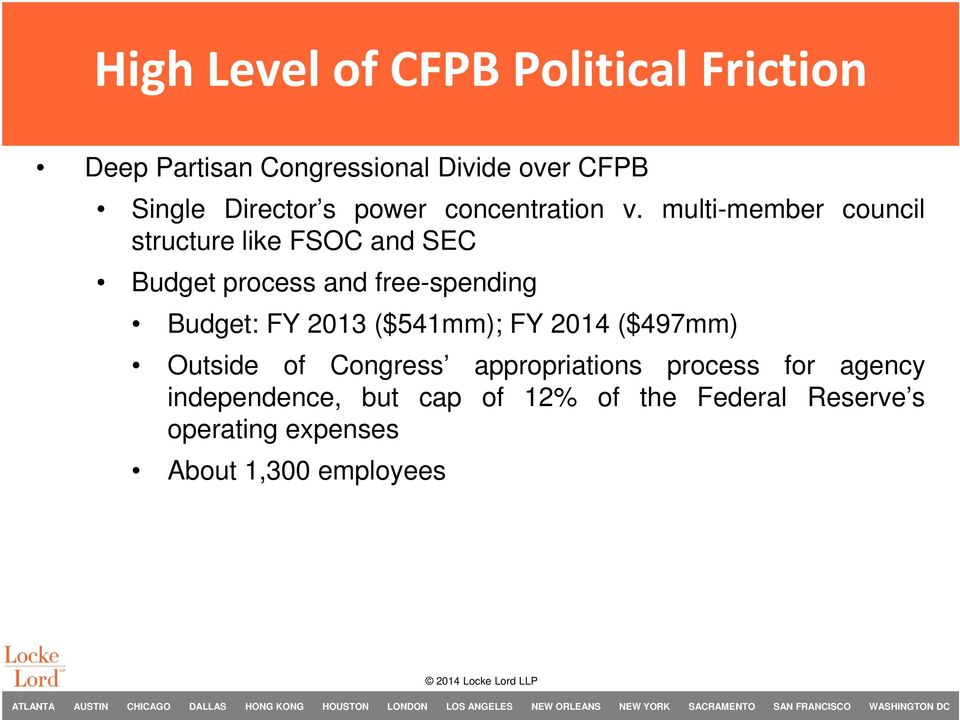 multi-member council structure like FSOC and SEC Budget process and free-spending Budget: FY 2013