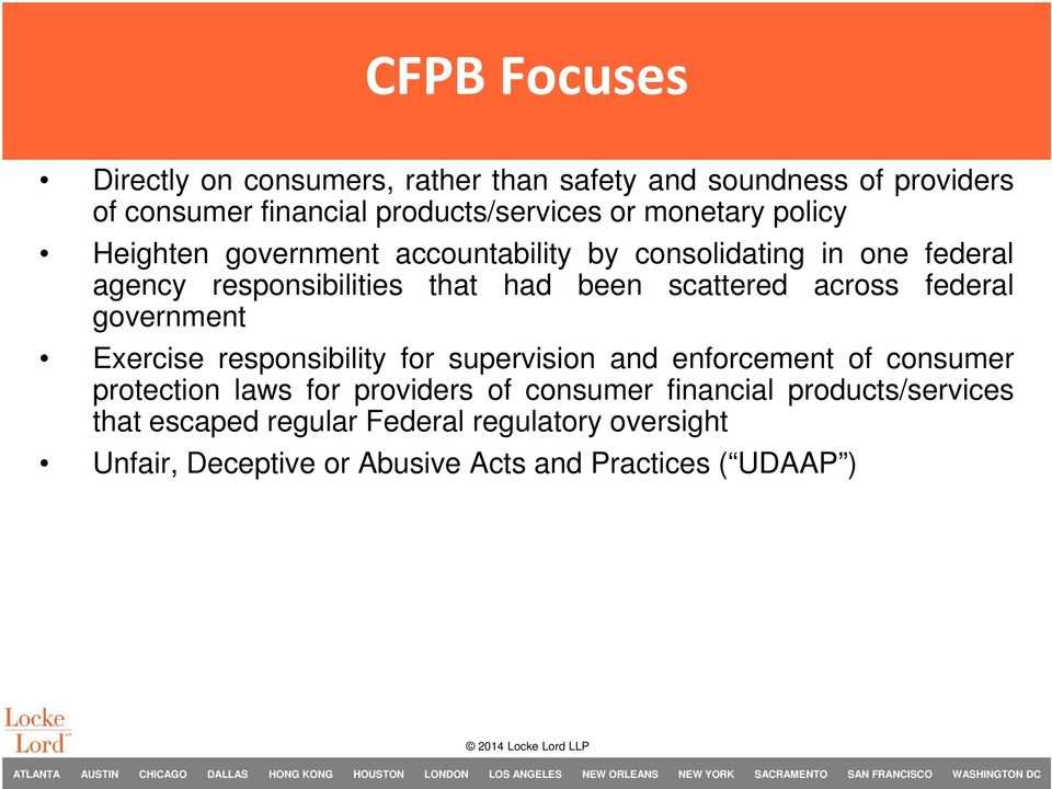 across federal government Exercise responsibility for supervision and enforcement of consumer protection laws for providers of