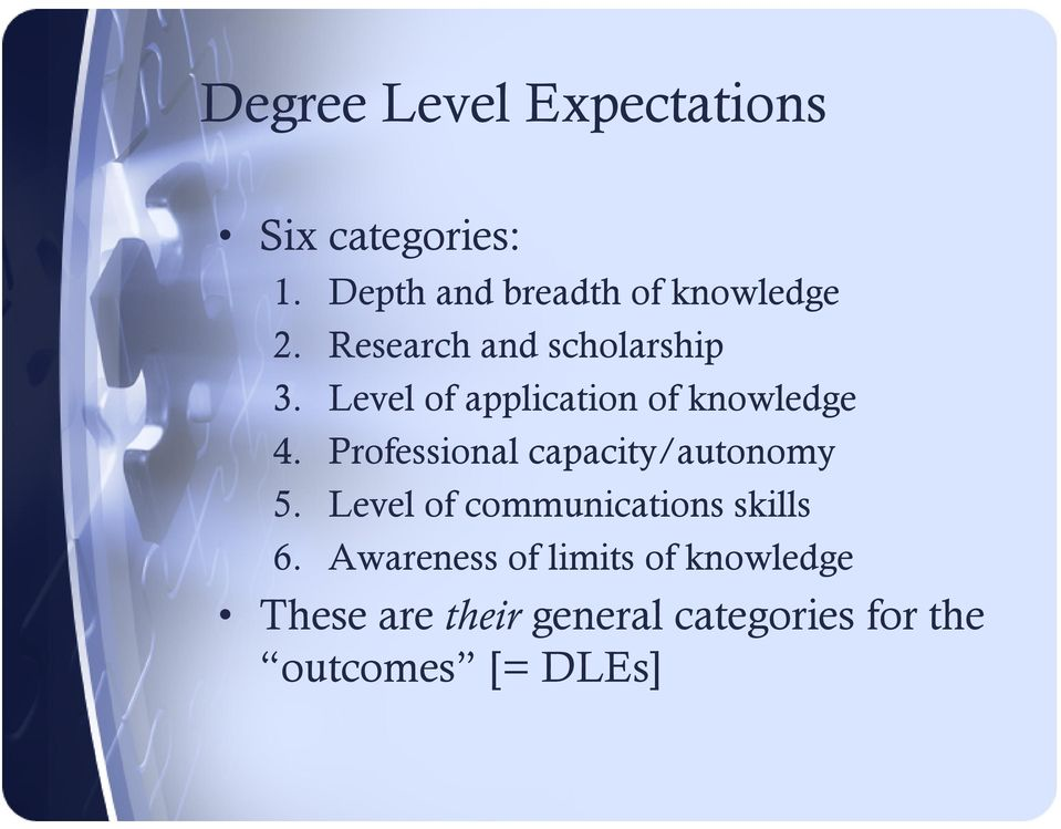 Level of application of knowledge 4. Professional capacity/autonomy 5.