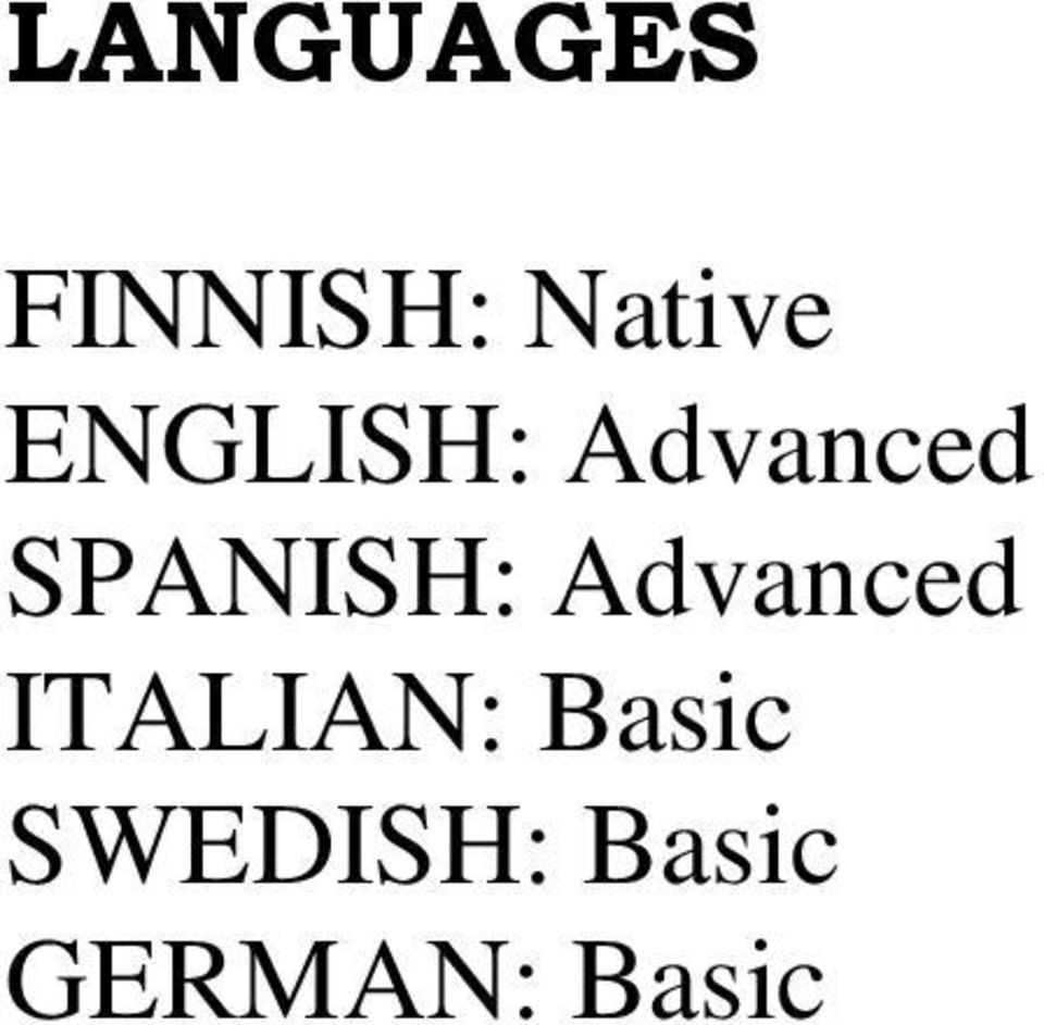 Advanced ITALIAN: Basic