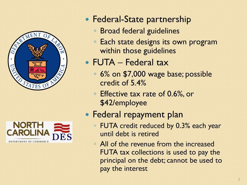 6%, or $42/employee Federal repayment plan FUTA credit reduced by 0.