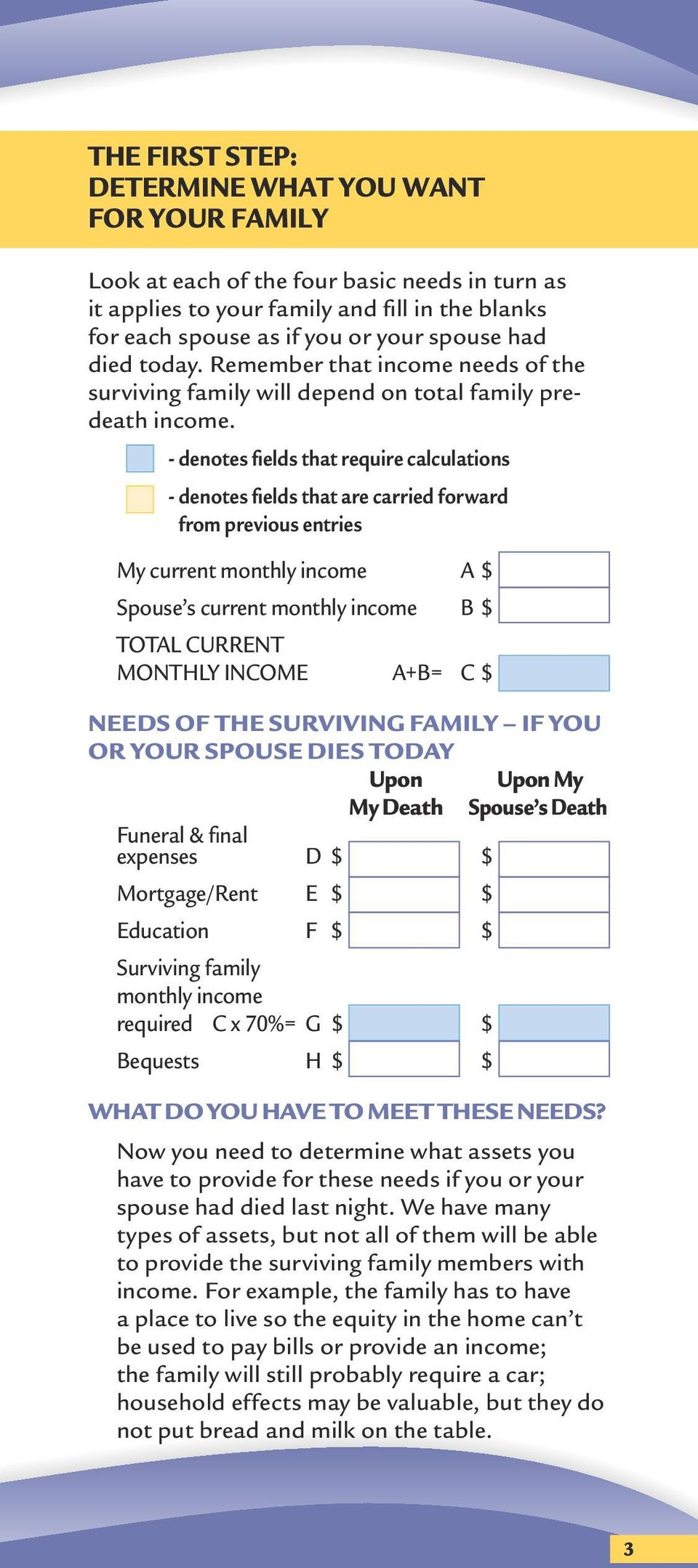 - denotes fields that require calculations - denotes fields that are carried forward from previous entries My current monthly income A $ Spouse s current monthly income B $ TOTAL CURRENT MONTHLY