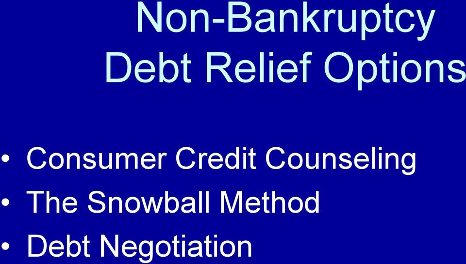 Credit Counseling The