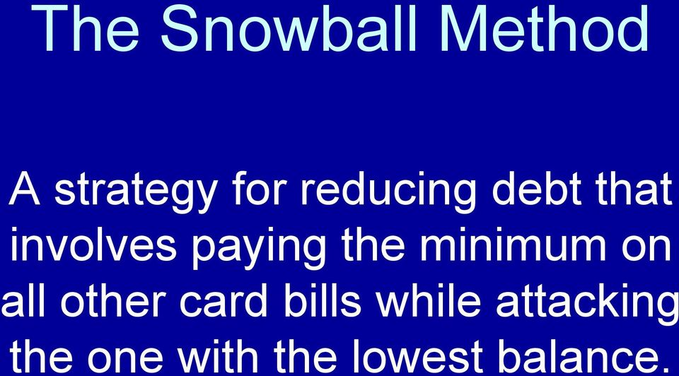minimum on all other card bills while