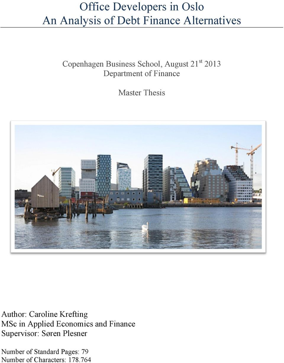 Thesis Author: Caroline Krefting MSc in Applied Economics and Finance