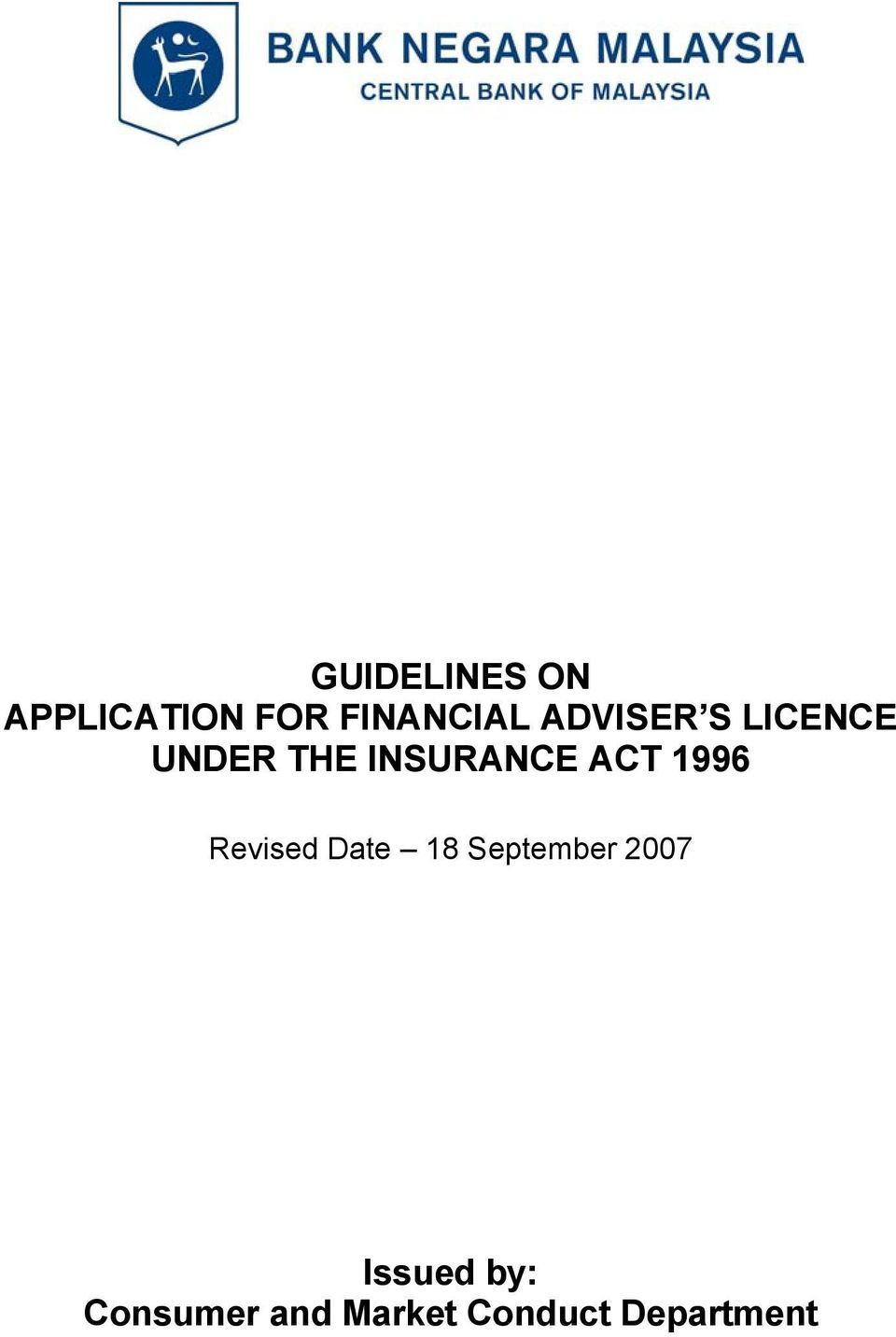 1996 Revised Date 18 September 2007