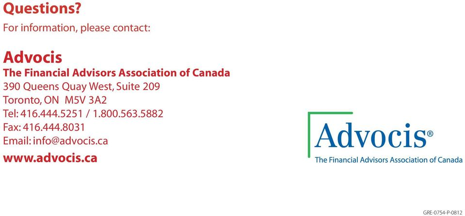 Association of Canada 390 Queens Quay West, Suite 209 Toronto,