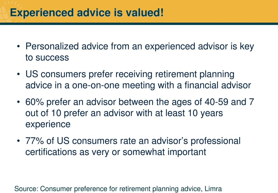 advice in a one-on-one meeting with a financial advisor 60% prefer an advisor between the ages of 40-59 and 7 out of 10