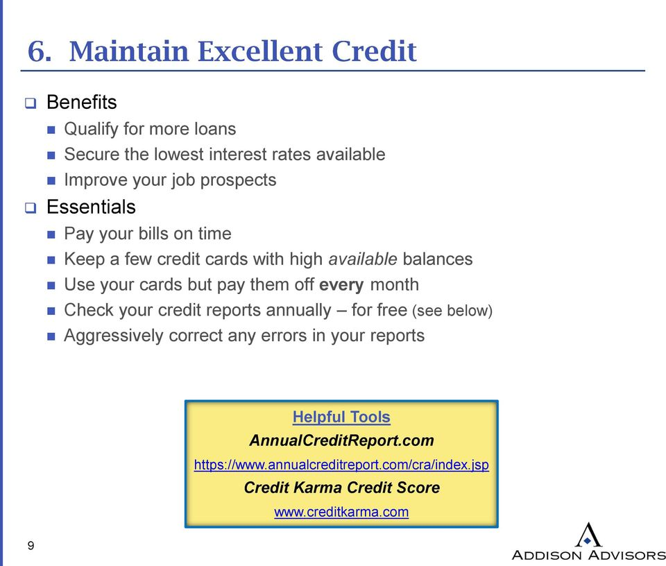 Check your credit reports annually for free (see below) Aggressively correct any errors in your reports Helpful Tools
