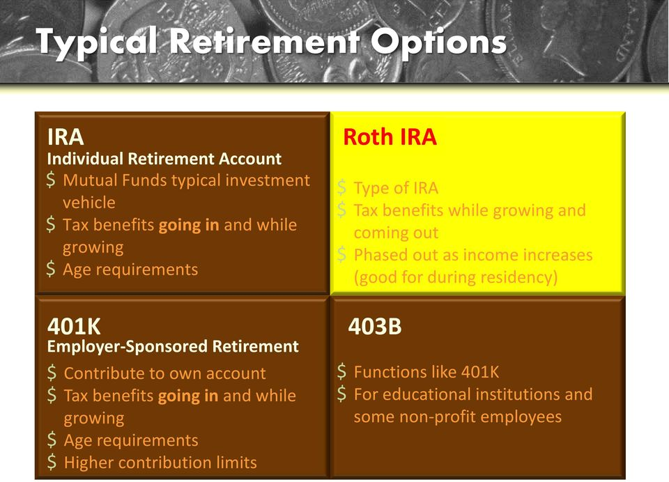 growing $ Age requirements $ Higher contribution limits Roth IRA $ Type of IRA $ Tax benefits while growing and coming out $ Phased