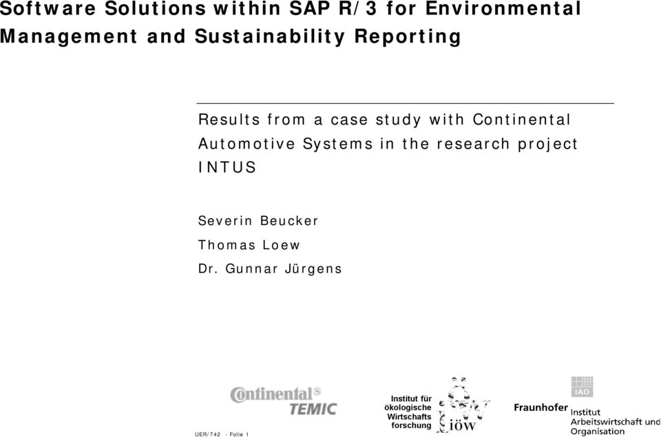 study with Continental Automotive Systems in the research