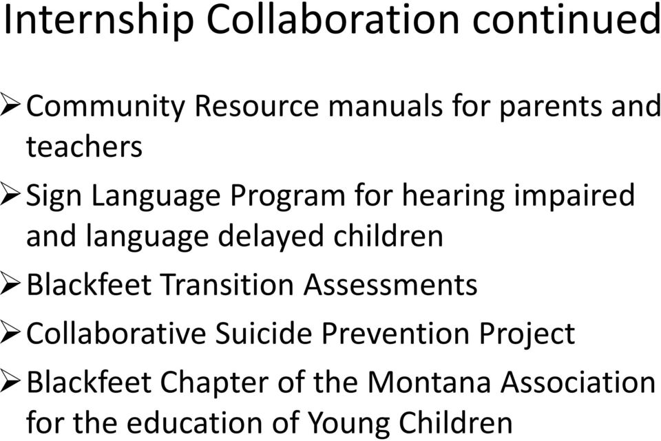 children Blackfeet Transition Assessments Collaborative Suicide Prevention