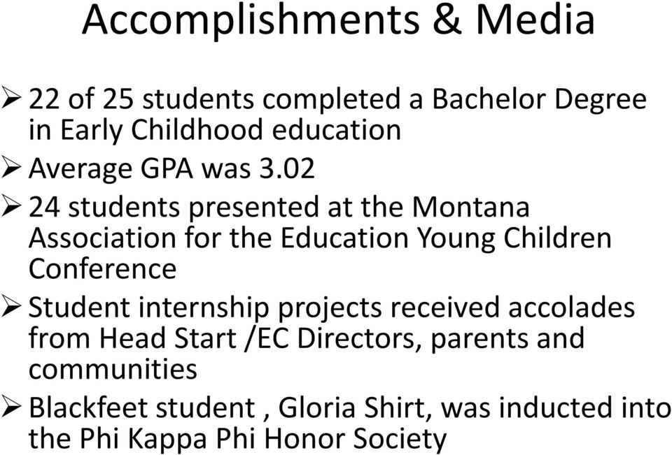 02 24 students presented at the Montana Association for the Education Young Children Conference