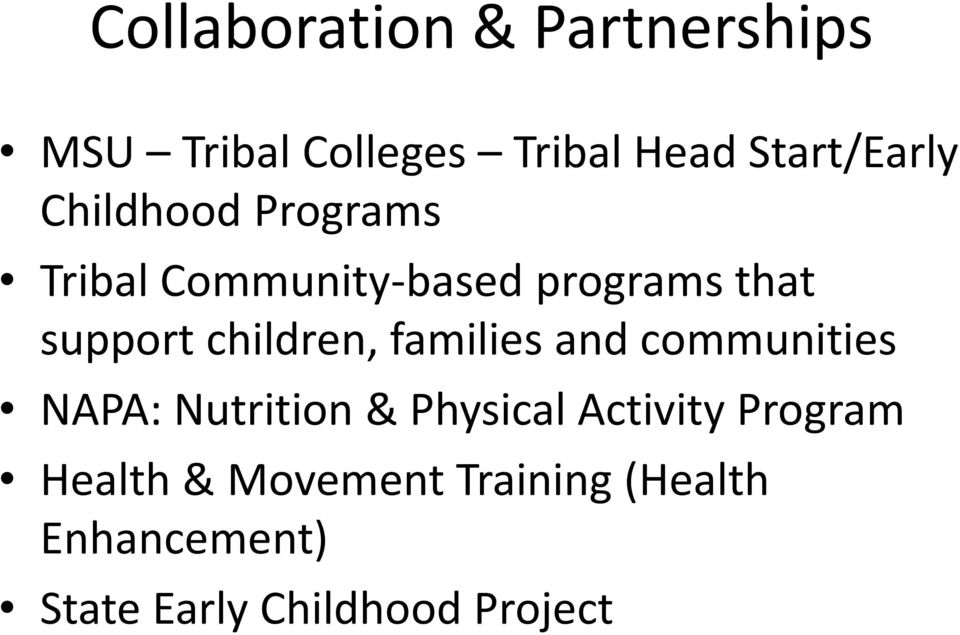 families and communities NAPA: Nutrition & Physical Activity Program