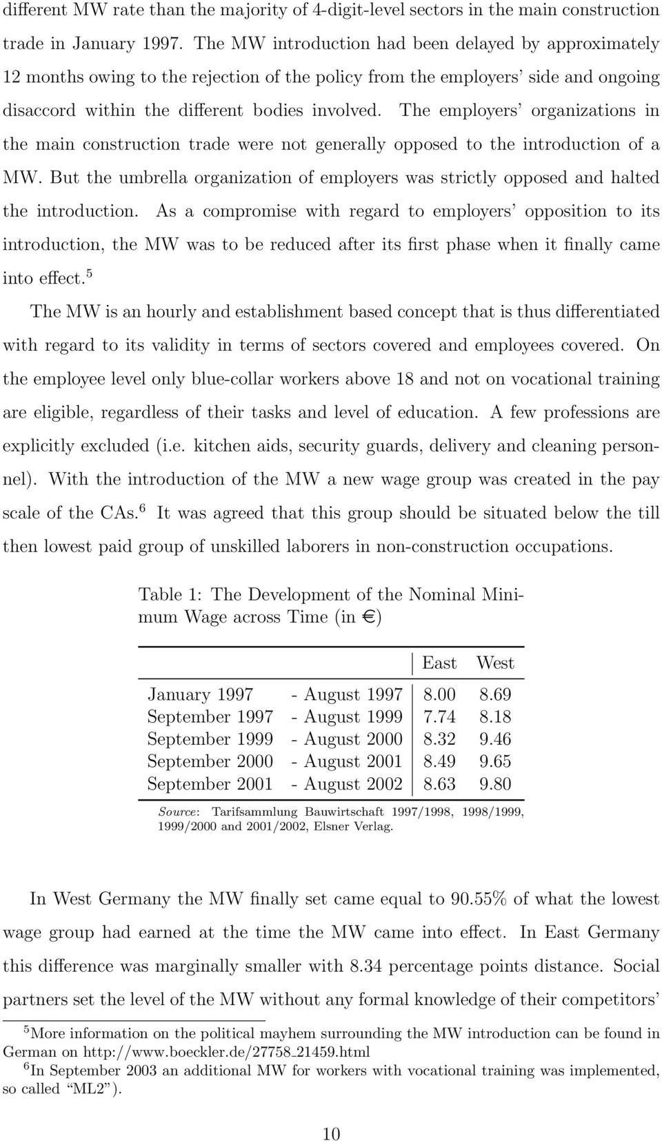 The employers organizations in the main construction trade were not generally opposed to the introduction of a MW.