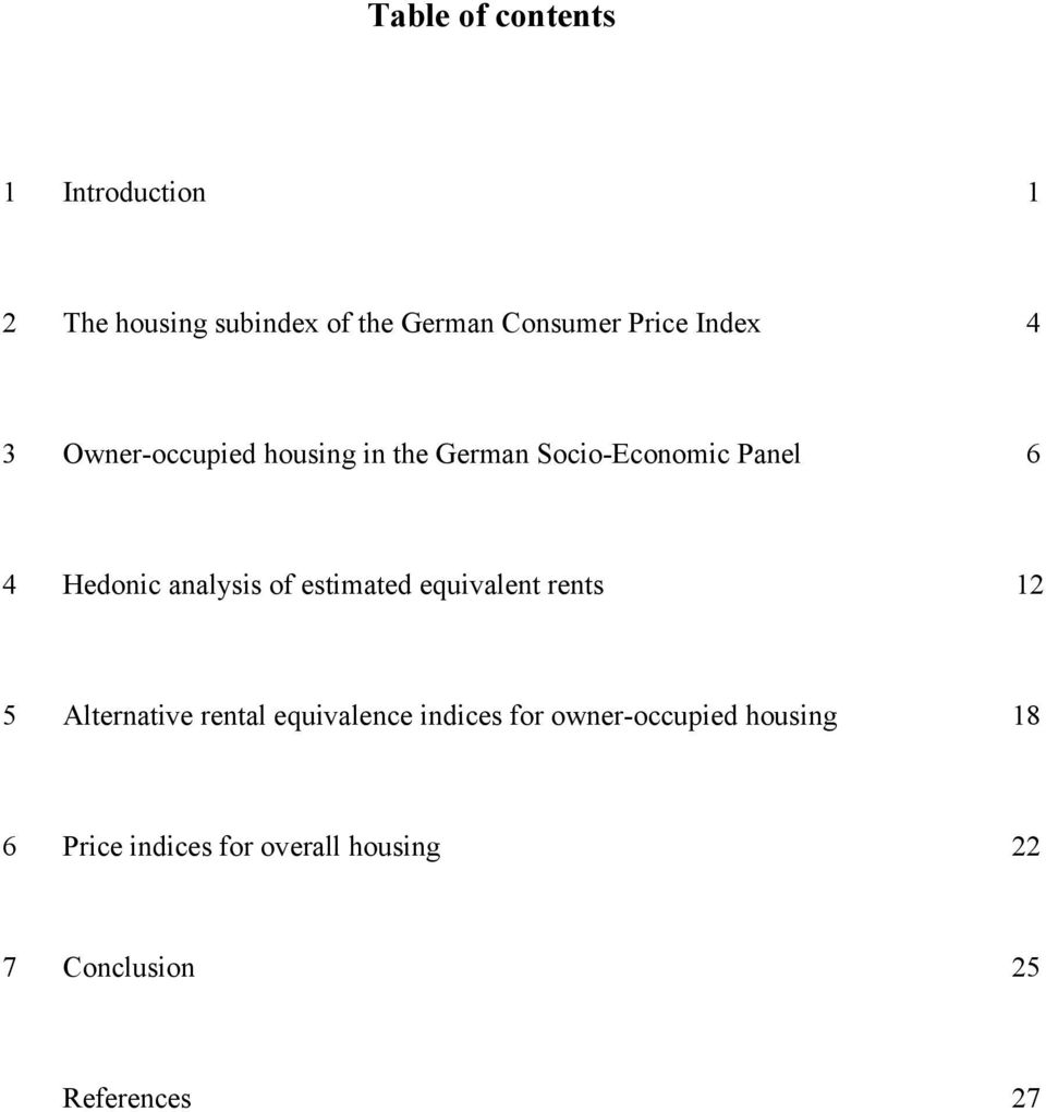 analysis of estimated equivalent rents 12 5 Alternative rental equivalence indices for