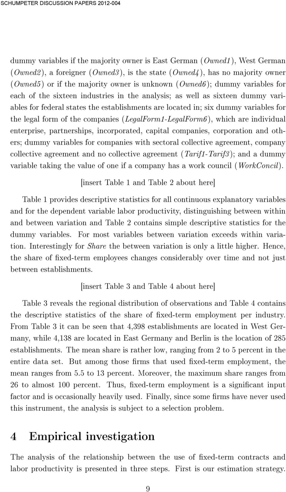 legal form of the companies (LegalForm1-LegalForm6 ), which are individual enterprise, partnerships, incorporated, capital companies, corporation and others; dummy variables for companies with