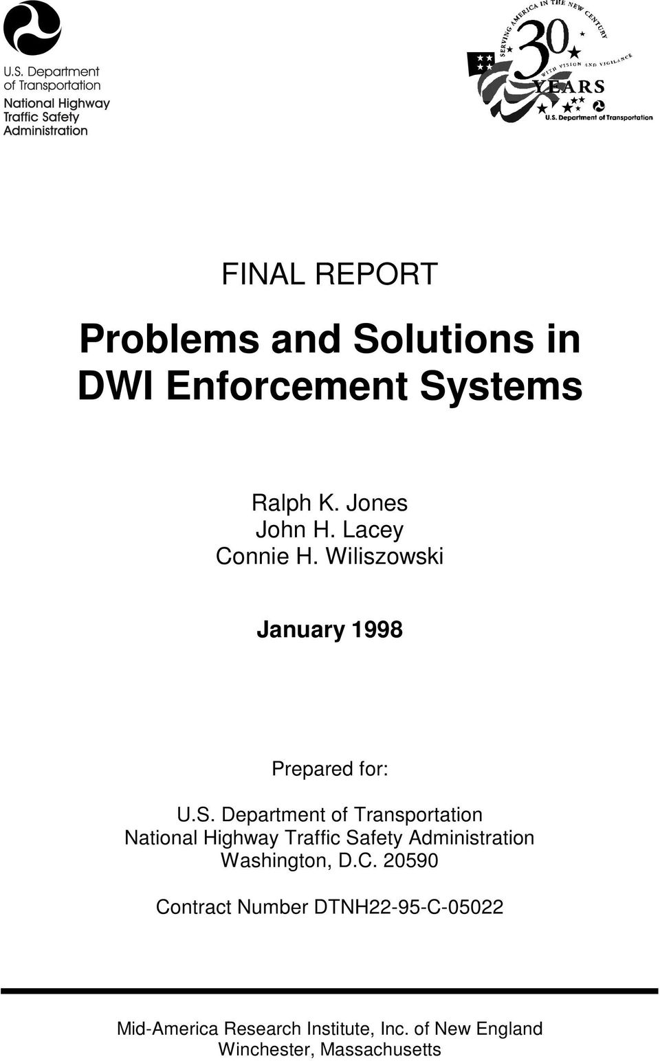 Department of Transportation National Highway Traffic Safety Administration Washington,