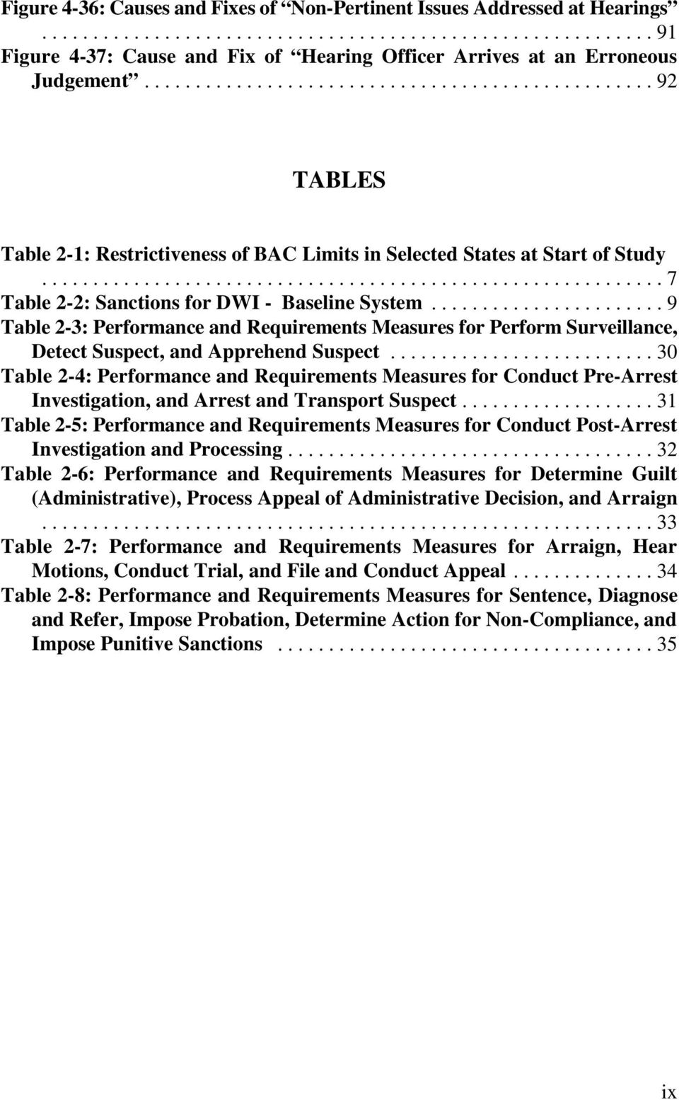 ..9 Table 2-3: Performance and Requirements Measures for Perform Surveillance, Detect Suspect, and Apprehend Suspect.
