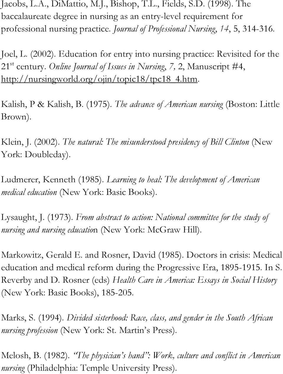 Online Journal of Issues in Nursing, 7, 2, Manuscript #4, http://nursingworld.org/ojin/topic18/tpc18_4.htm. Kalish, P & Kalish, B. (1975). The advance of American nursing (Boston: Little Brown).