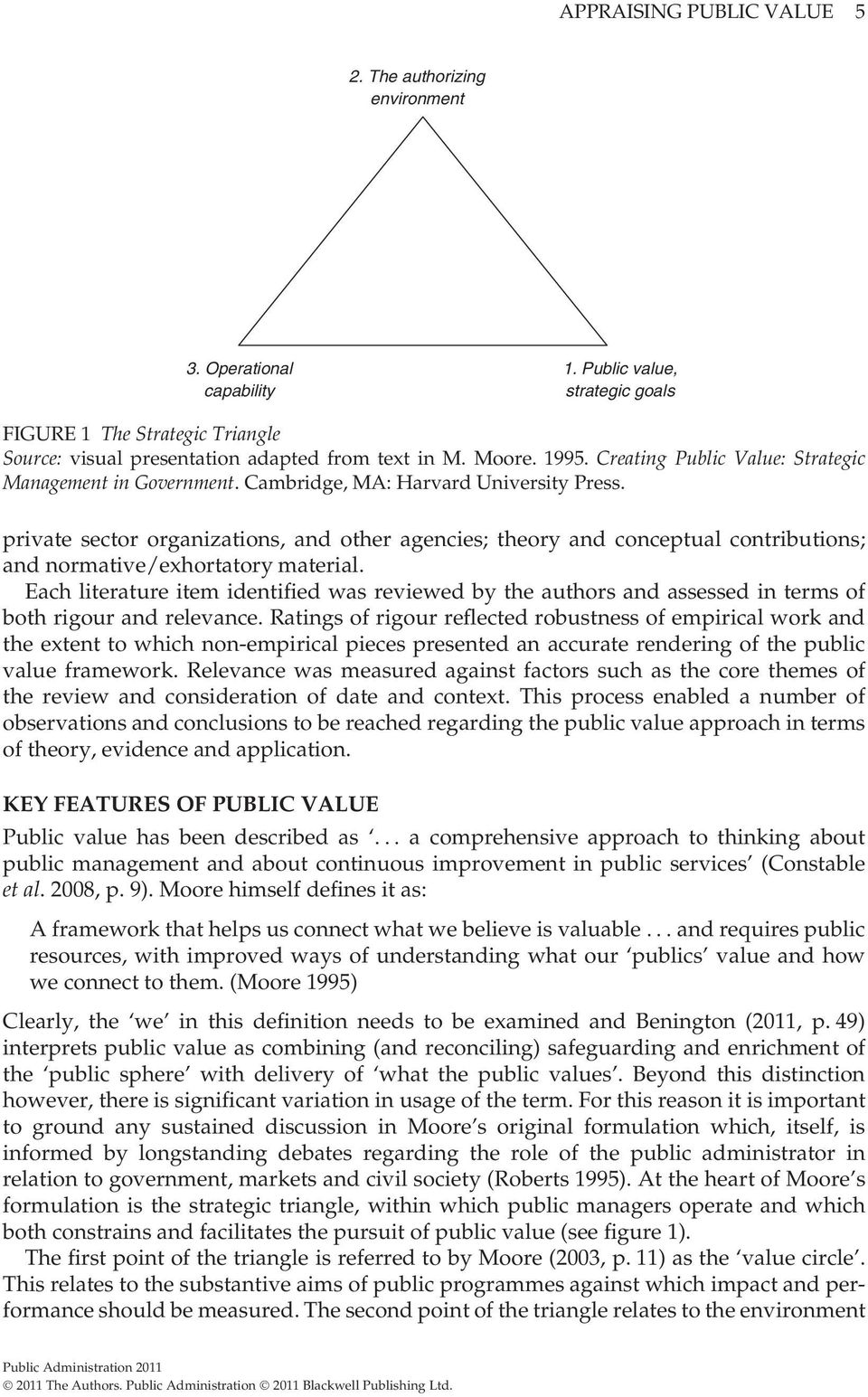 private sector organizations, and other agencies; theory and conceptual contributions; and normative/exhortatory material.