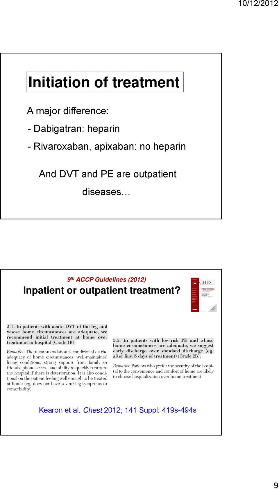 outpatient diseases 9 th ACCP Guidelines (2012) Inpatient or