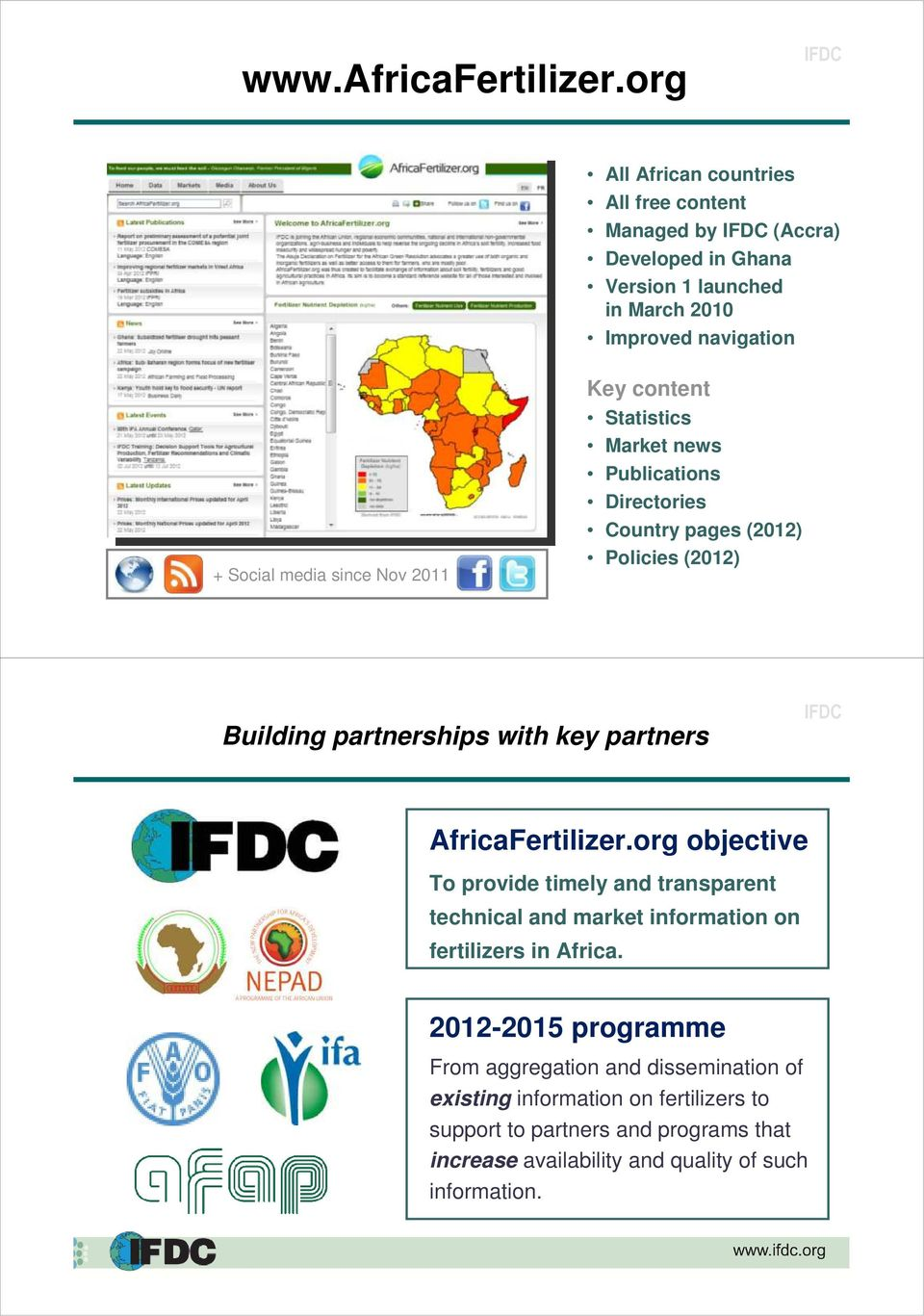 2011 Key content Statistics Market news Publications Directories Country pages (2012) Policies (2012) Building partnerships with key partners AfricaFertilizer.