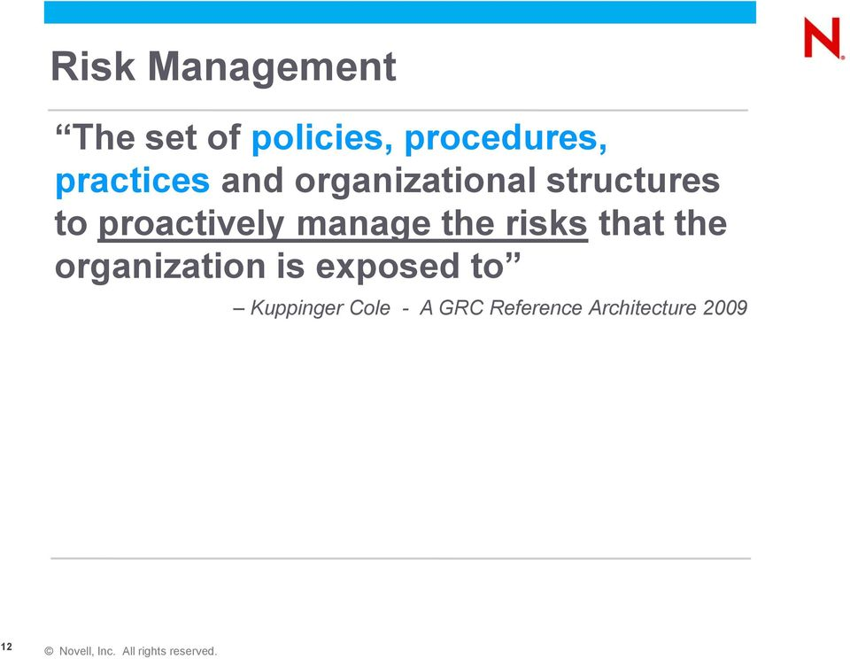 proactively manage the risks that the organization