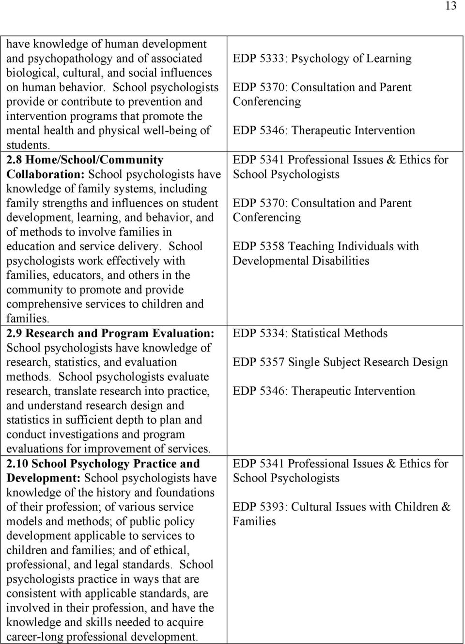 8 Home/School/Community Collaboration: School psychologists have knowledge of family systems, including family strengths and influences on student development, learning, and behavior, and of methods