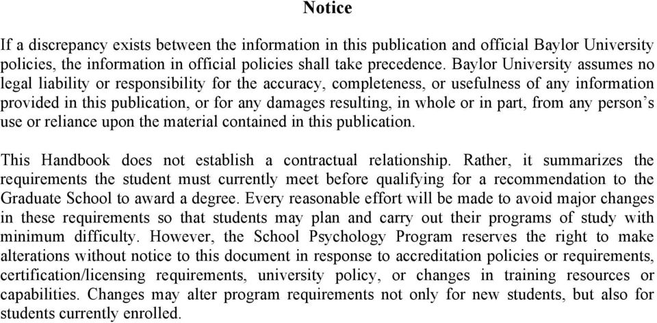 in part, from any person s use or reliance upon the material contained in this publication. This Handbook does not establish a contractual relationship.